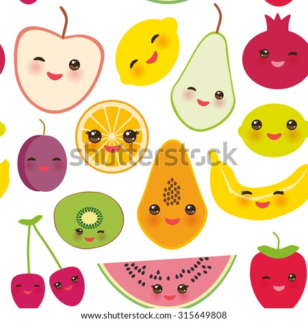 seamless pattern strawberry, orange, banana cherry, lime, lemon, kiwi, plums, apples, watermelon, pomegranate, papaya, pear, pear on white background. Vector