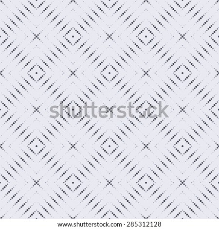 Seamless pattern. Stylish geometric tile. Repeating dotted lines, rhombuses, dots. Monochrome. Backdrop. Web. Vector element of graphic design for your project - stock vector