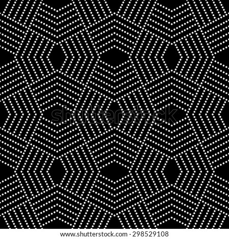 Seamless pattern. Stylish modern geometric texture. Repeating polygonal shapes, dotted lines, rhombuses. Monochrome. Backdrop. Web. Vector element of graphic design - stock vector