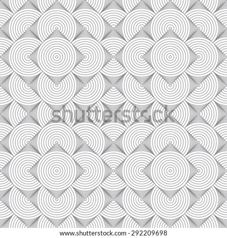 Seamless pattern. Stylish modern texture. Repeating geometrical shapes, semicircles, arcs, circular elements, circles, rhombuses, diamonds. Monochrome. Backdrop. Web. Vector element of graphic design - stock vector
