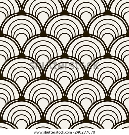 Seamless pattern. Stylish monochrome ornament. Geometric background with arches. Vector repeating texture