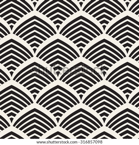 Seamless pattern. Stylish ornament. Geometric background. Vector repeating texture. Striped pointed arches