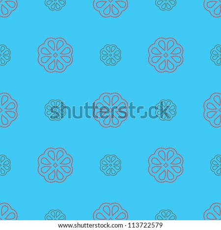 Seamless pattern: stylized dotted flowers