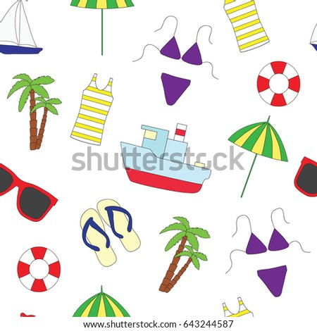 Seamless pattern. Summer and sea. A vector picture on a white background with the ship, a lifebuoy, an undershirt, a palm tree, sunglasses