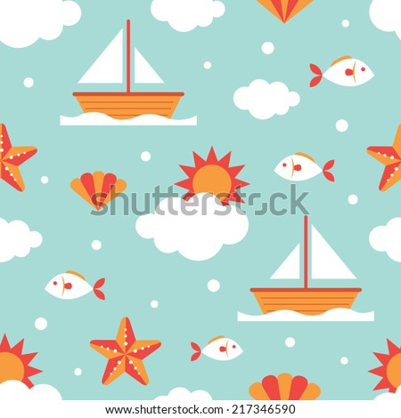 Seamless Pattern: Summer, Fish and Ship