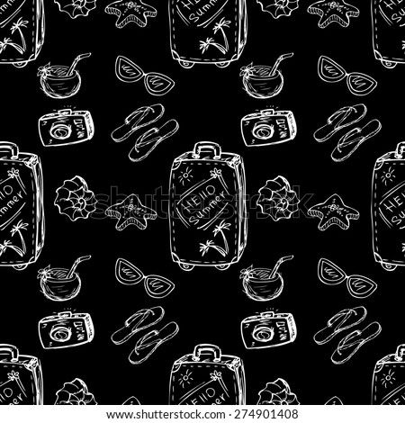 Seamless pattern summer- suitcase,shells,sunglasses,coconut on black. Hand drawing.Seamless pattern can be used for wallpaper, pattern fills, web page backgrounds, surface textures. - stock vector