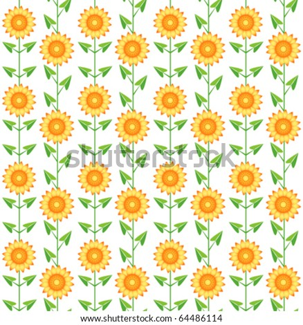 Seamless pattern sunflowers. On the white. Vector background. - stock vector