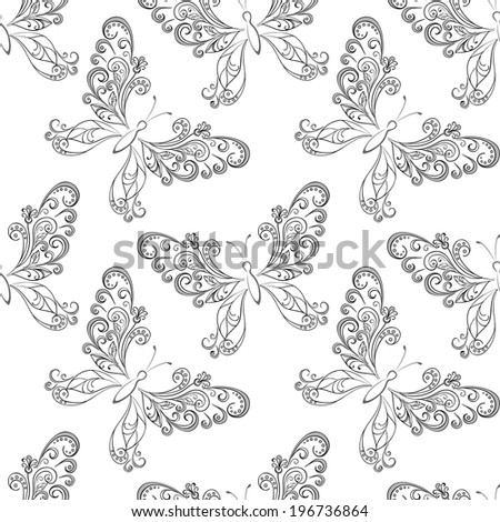 Seamless pattern, symbolical butterflies black contours on white background. Vector - stock vector
