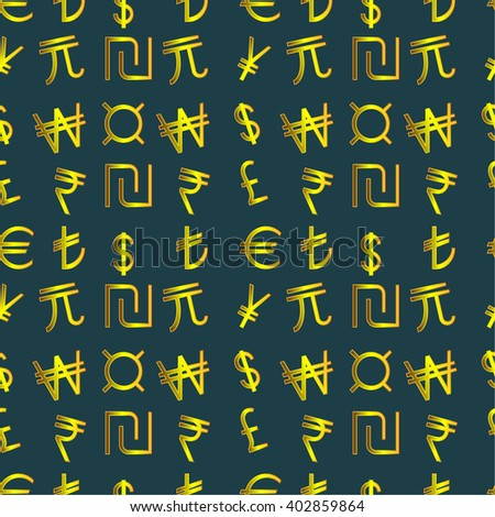 Seamless pattern - Symbols of currencies in the world on a dark background - stock vector
