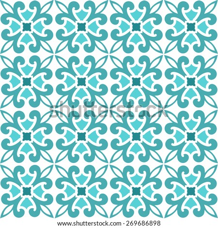 Seamless pattern teal colors blank background  - stock vector