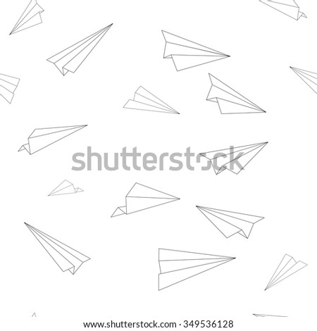 Seamless Pattern Texture - Minimal Flying Airplanes Line Art - Vector Design - stock vector