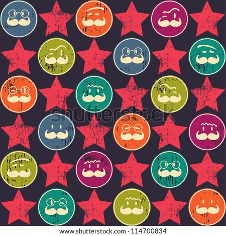 Seamless  pattern. Texture with funny faces.Seamless pattern can be used for wallpaper, pattern fills, web page background,surface textures. Gorgeous seamless background - stock vector