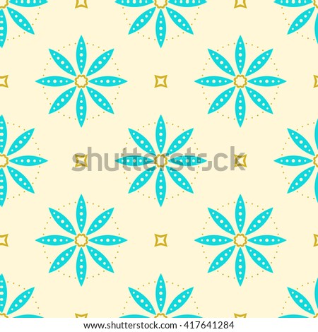 Seamless pattern, tilling background pattern, repeatable texture pattern, textile design element. Cyan abstract flowers decor