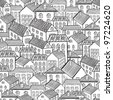 seamless pattern town houses. Vector illustration - stock photo
