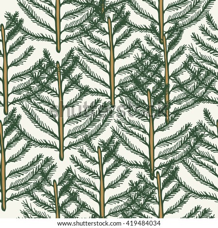 Seamless pattern tree fir pine vector. Vector illustration hand drawn gold and green  - stock vector