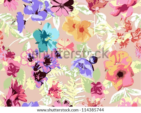 seamless pattern. tropical flowers, beautiful floral background,grunge neon touch pattern - stock vector