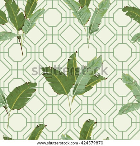 Seamless Pattern. Tropical Leaves Background. Floral Ornament. Exotic Flowers. Vector Background. Floral Texture. Floral Wallpaper. - stock vector