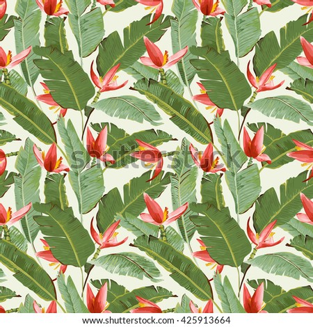 Seamless Pattern. Tropical Palm Leaves and Flowers Background. Banana Leaves. Vector Background. Exotic Flowers Texture. Floral Wallpaper. - stock vector