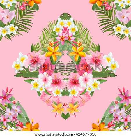Seamless Pattern. Tropical Palm Leaves and Flowers Background.   Vector Background. Exotic Flowers Texture. Floral Wallpaper. - stock vector