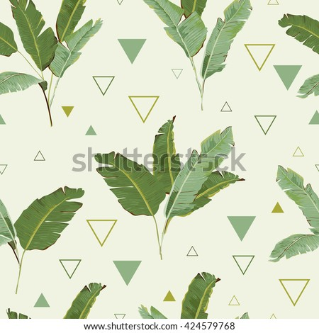 Seamless Pattern. Tropical Palm Leaves Background. Banana Leaves. Vector Background. Exotic Flowers Texture. Floral Wallpaper. Geometric Background.  - stock vector