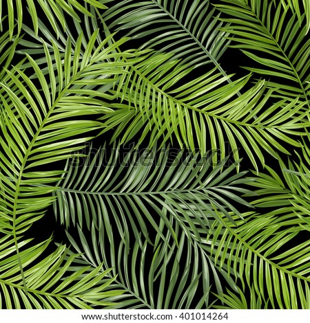 Seamless Pattern. Tropical Palm Leaves Background. Vector.  - stock vector