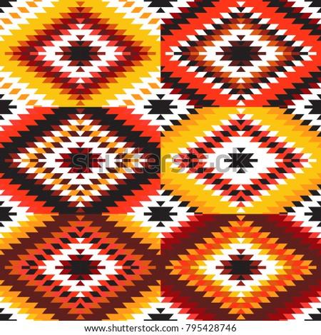 Seamless Pattern Turkish Carpet White Red Orange Claret Burgundy Colorful Patchwork Mosaic Oriental Kilim Rug