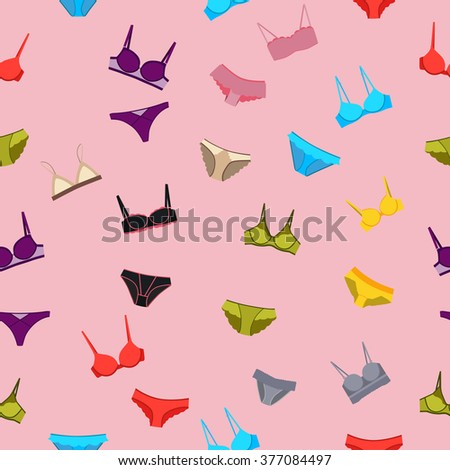 Seamless pattern underwear. Panties and bra. Vector illustration