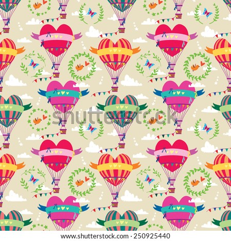 Seamless pattern Valentine's Day with a balloon in the form of heart. Vector illustration. - stock vector