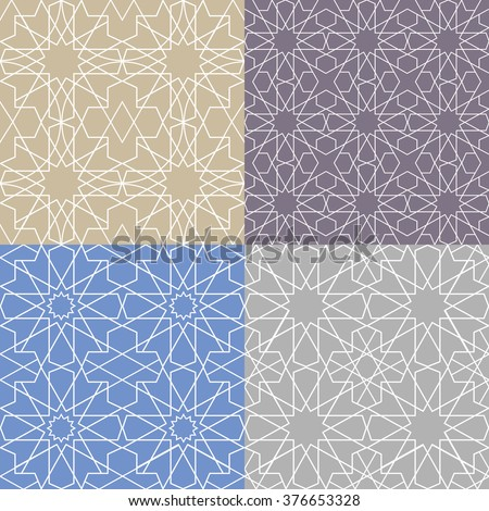 Seamless pattern.Vector abstract background.Arabic islamic motif,Geometrical ornament.Vector muslim,traditional mosaic backdrop.Vintage wallpaper,religious linear texture,polygon template set - stock vector