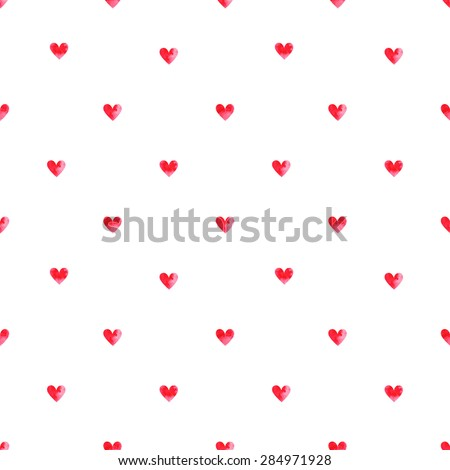 Seamless pattern. Vector abstract background. Small pink watercolor hearts on white background. - stock vector