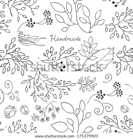 Seamless pattern, vector, black on white