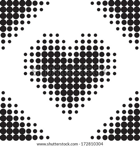 Seamless pattern. Vector halftone dots. Black and white. - stock vector