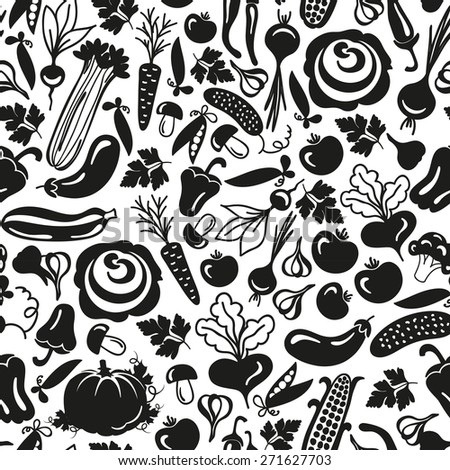 seamless pattern vector vegetables on a white background
