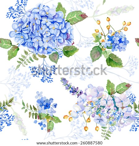 Seamless pattern. Vector watercolor blue hydrangea, lavender. Illustration of flowers. Vintage. Can be used for gift wrapping paper, birthday, mother's day. Gentle, cute background. - stock vector