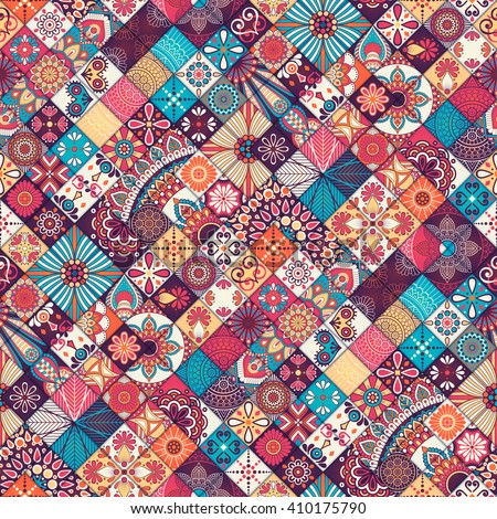 Seamless pattern. Vintage decorative elements. Hand drawn background. Islam, Arabic, Indian, ottoman motifs. Perfect for printing on fabric or paper. - stock vector