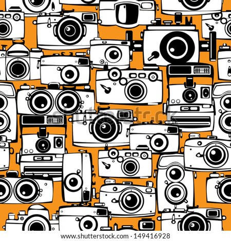 seamless pattern vintage film photo cameras - stock vector