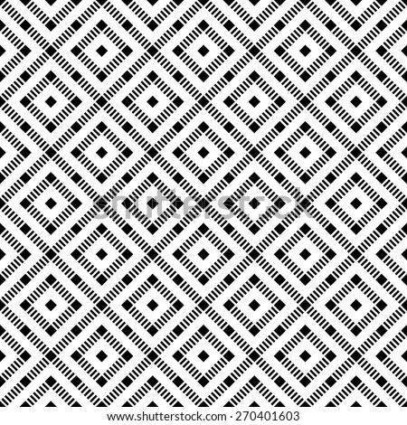 Seamless pattern. Vintage geometric texture with repeating rhombuses and squares. Dashed line. Monochrome. Backdrop. Web. Vector illustration for your design