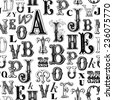 Seamless pattern - Vintage Letters - stock photo
