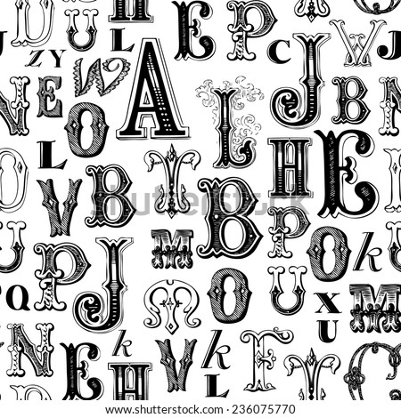 Seamless pattern - Vintage Letters
