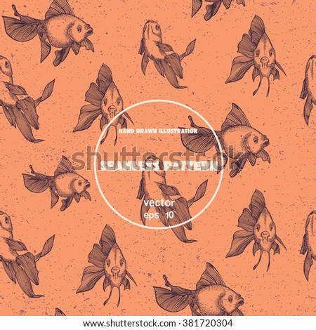 Seamless pattern. Vintage sketch of goldfish. Hand drawn illustration in line art style
