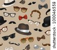 Seamless pattern - vintage style accessories(sunglasses/eyeglasses/fedora hats/mustaches/bow ties) on beige background - vector illustration. - stock vector