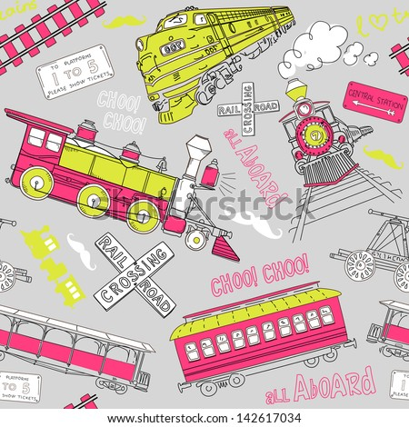 Seamless pattern vintage trains and rail-road doodles - stock vector