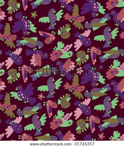 seamless pattern: violet birds - stock vector