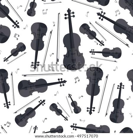 Seamless Pattern Violin Music Instrument Note Retro Wallpaper Background Vector Textiles Kids