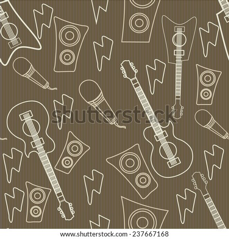 Seamless pattern wallpaper of musical instrument. - stock vector