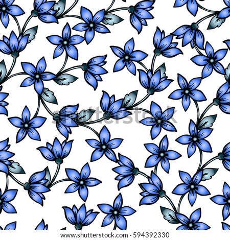 Seamless Pattern Wallpaper With Blue Flowers Soft Roses Gradients Perfect For Invitation