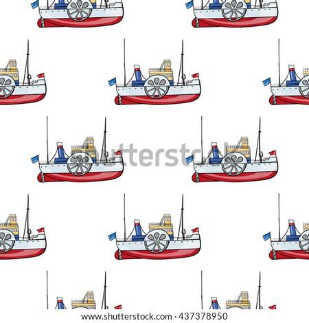 seamless pattern water transpor. kids toy steamship - stock vector