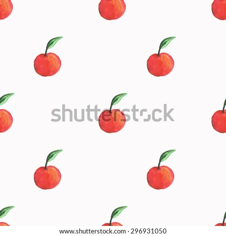 Seamless pattern Watercolor Apple - stock vector