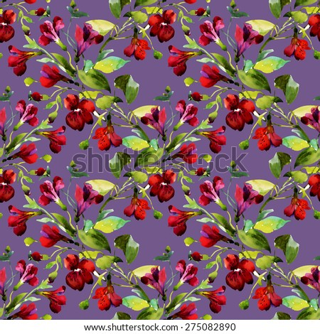 Seamless pattern watercolor flowers on purple background, paper, textile, fabric, wrapper, wallpaper vector illustration - stock vector
