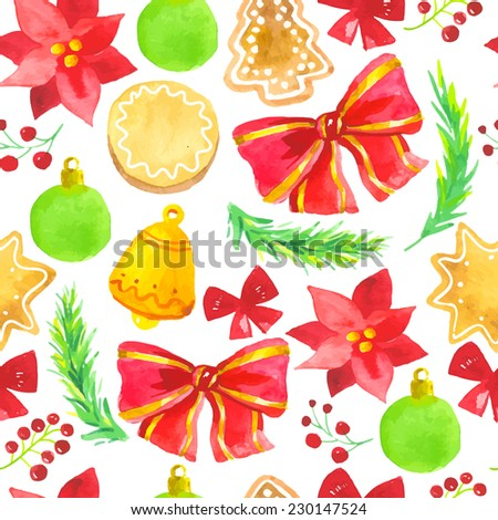 Seamless pattern watercolor to Merry Christmas. Bright background for happy new year - stock vector
